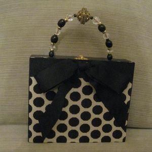 New Vintage Fabric Covered Bead Cigar Box Handbag